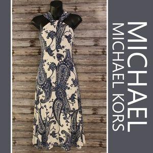Blue Paisley Midi Dress by MICHAEL Michael Kors